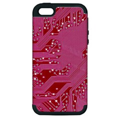 Pink Circuit Pattern Apple Iphone 5 Hardshell Case (pc+silicone) by BangZart