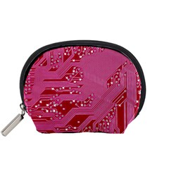 Pink Circuit Pattern Accessory Pouches (small)  by BangZart