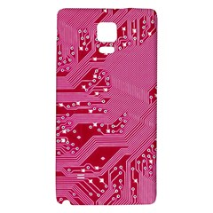 Pink Circuit Pattern Galaxy Note 4 Back Case by BangZart