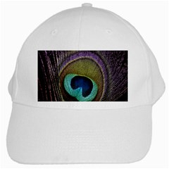 Peacock Feather White Cap