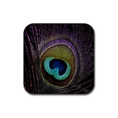 Peacock Feather Rubber Coaster (square)  by BangZart