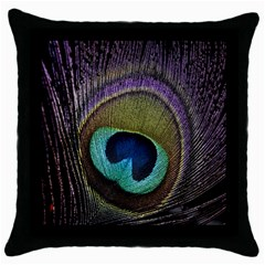 Peacock Feather Throw Pillow Case (black) by BangZart