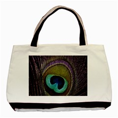 Peacock Feather Basic Tote Bag by BangZart