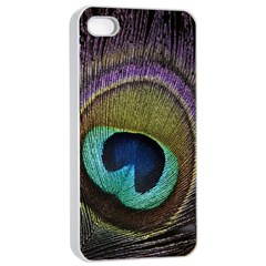 Peacock Feather Apple Iphone 4/4s Seamless Case (white) by BangZart
