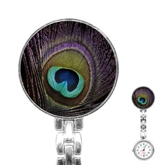 Peacock Feather Stainless Steel Nurses Watch by BangZart