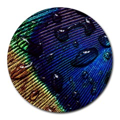 Peacock Feather Retina Mac Round Mousepads by BangZart