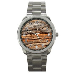 Natural Wood Texture Sport Metal Watch by BangZart