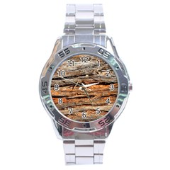Natural Wood Texture Stainless Steel Analogue Watch by BangZart