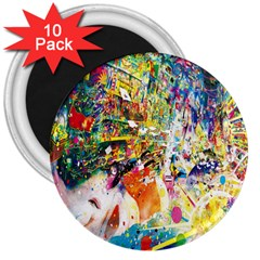 Multicolor Anime Colors Colorful 3  Magnets (10 Pack)  by BangZart
