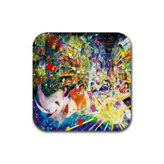 Multicolor Anime Colors Colorful Rubber Square Coaster (4 Pack)