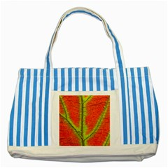 Nature Leaves Striped Blue Tote Bag by BangZart