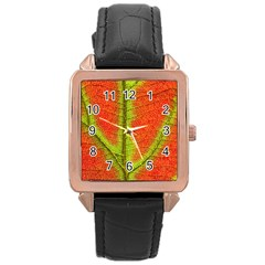Nature Leaves Rose Gold Leather Watch  by BangZart
