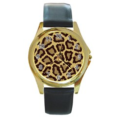 Leopard Round Gold Metal Watch