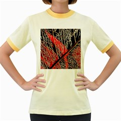 Leaf Pattern Women s Fitted Ringer T Shirts by BangZart
