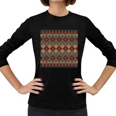 Knitted Pattern Women s Long Sleeve Dark T Shirts by BangZart