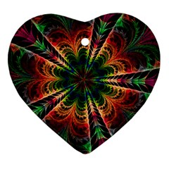 Kaleidoscope Patterns Colors Heart Ornament (two Sides)