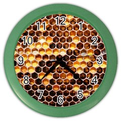 Honey Honeycomb Pattern Color Wall Clocks