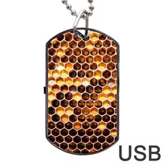 Honey Honeycomb Pattern Dog Tag Usb Flash (two Sides) by BangZart