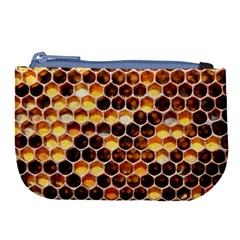 Honey Honeycomb Pattern Large Coin Purse
