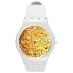 Gold Pattern Round Plastic Sport Watch (m) by BangZart