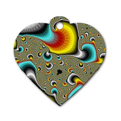 Fractals Random Bluray Dog Tag Heart (two Sides) by BangZart