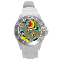 Fractals Random Bluray Round Plastic Sport Watch (l) by BangZart