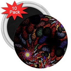 Fractal Swirls 3  Magnets (10 Pack)