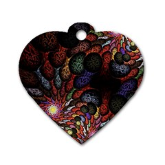 Fractal Swirls Dog Tag Heart (two Sides) by BangZart