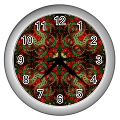Fractal Kaleidoscope Wall Clocks (silver)
