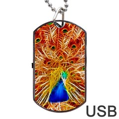 Fractal Peacock Art Dog Tag Usb Flash (one Side) by BangZart