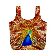 Fractal Peacock Art Full Print Recycle Bags (m)  by BangZart