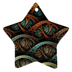 Fractal Art Pattern Flower Art Background Clored Star Ornament (two Sides)