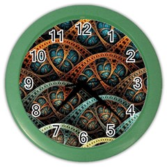 Fractal Art Pattern Flower Art Background Clored Color Wall Clocks by BangZart