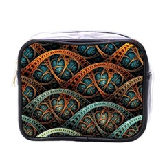 Fractal Art Pattern Flower Art Background Clored Mini Toiletries Bags