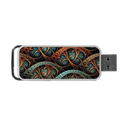 Fractal Art Pattern Flower Art Background Clored Portable Usb Flash (two Sides) by BangZart