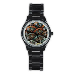 Fractal Art Pattern Flower Art Background Clored Stainless Steel Round Watch by BangZart