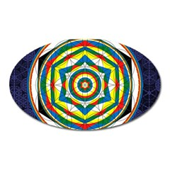 Flower Of Life Universal Mandala Oval Magnet by BangZart