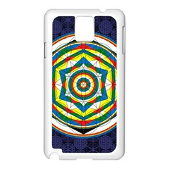 Flower Of Life Universal Mandala Samsung Galaxy Note 3 N9005 Case (white) by BangZart