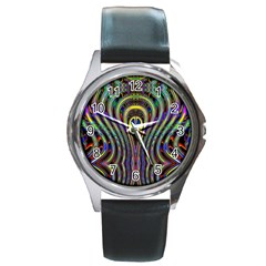 Curves Color Abstract Round Metal Watch by BangZart