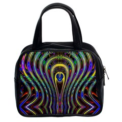 Curves Color Abstract Classic Handbags (2 Sides) by BangZart