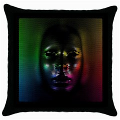 Digital Art Psychedelic Face Skull Color Throw Pillow Case (black) by BangZart