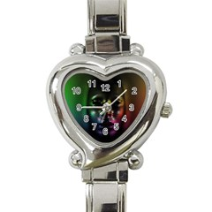 Digital Art Psychedelic Face Skull Color Heart Italian Charm Watch by BangZart