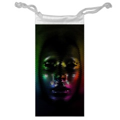 Digital Art Psychedelic Face Skull Color Jewelry Bag