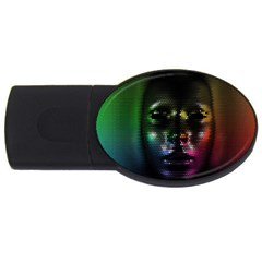 Digital Art Psychedelic Face Skull Color Usb Flash Drive Oval (4 Gb) by BangZart