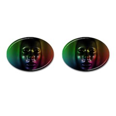 Digital Art Psychedelic Face Skull Color Cufflinks (oval) by BangZart