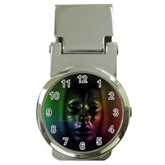 Digital Art Psychedelic Face Skull Color Money Clip Watches by BangZart