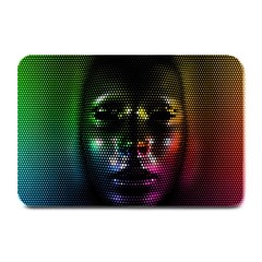 Digital Art Psychedelic Face Skull Color Plate Mats by BangZart
