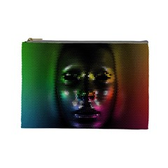 Digital Art Psychedelic Face Skull Color Cosmetic Bag (large)