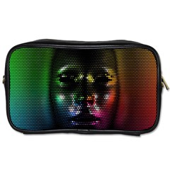 Digital Art Psychedelic Face Skull Color Toiletries Bags