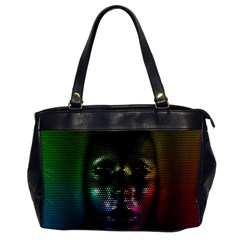 Digital Art Psychedelic Face Skull Color Office Handbags by BangZart